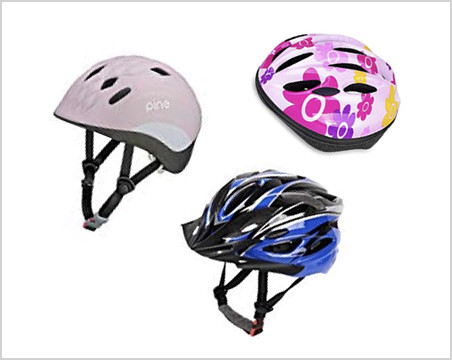 three kids' helmets of vaiorius size
