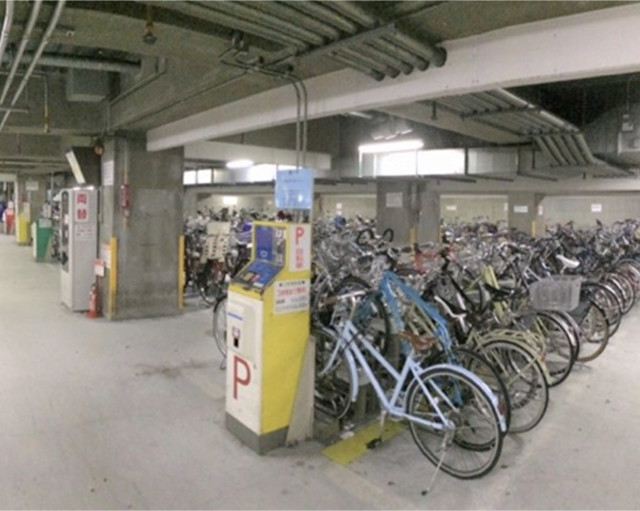 Bike parking space under Kitaoji station