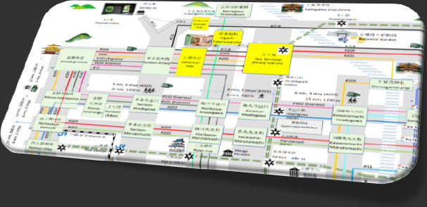 市内観光向け主要BUS路線図(停車場名有り)